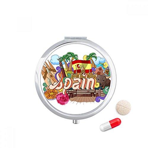 Prado Seafood Spain Graffiti Travel Pocket Pill case Medicine Drug Storage Box Dispenser Mirror Gift by DIYthinker