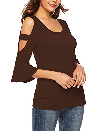Florboom Womens Casual Tee Tops Round Neck Shirts Bell Sleeve T Shirt Brown L