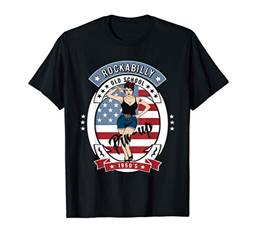 Retro 50s Rockabilly Clothing 1950s Gifts Rocker Pinup Shirt]()