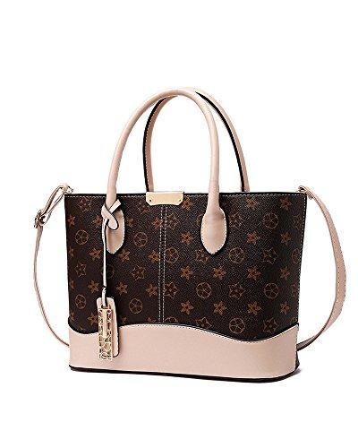 Lady Womens Designer Classic Star Floral Print Top-Handle Handbag Leather Shopping Tote Shoulder Bag Floral Print Satchel