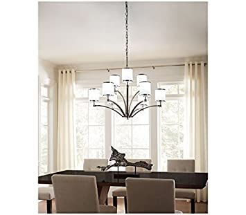 Feiss P1417SN CH Prospect Park Glass Drum Pendant Lighting, Satin Nickel, 1-Light 8 Dia x 10 H 75watts