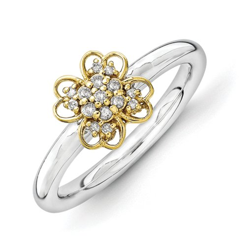 2.25mm Sterling Silver Rhodium-plated and 14k Gold-Flashed Stackable Expressions Diamond Flower Ring - Size 9