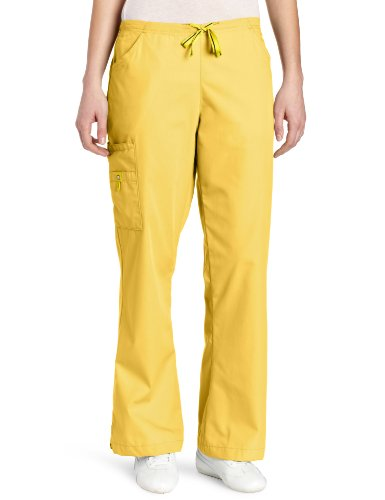 WonderWink Women's Scrubs Romeo 6 Pocket Flare Leg Pant, Yellow, X-Large/Petite