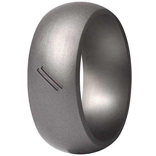 ThunderFit Silicone Wedding Ring for Men, Rubber Wedding Band (Gun Metal, 9.5-10 (19.8mm))