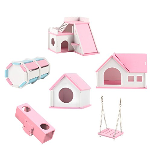 OMEM Hamster House Small Animal Hideout, Pet Mini Hut,Hamster Cabin,Hamster Cages,Portable Hamster Room, Pet Wooden Toys,Pet Hamster Toys by OMEM