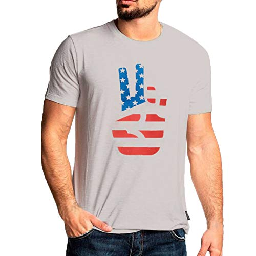 Jinjiums t shrits Mens o Neck tees, Funny Print t Shirts Big and Tall Short Sleeve tees Tunics Tops Graphic Blouse for Independence Day (Gary, L)