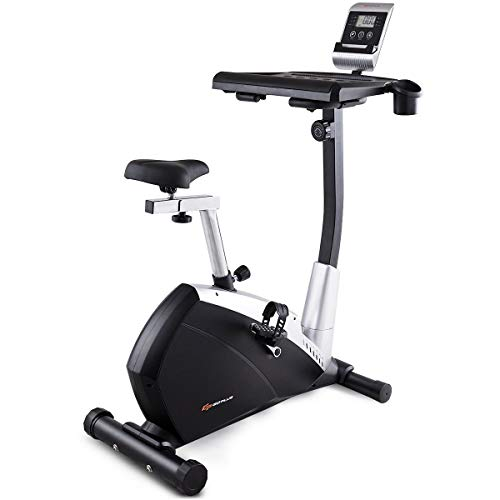 Goplus Desk Exercise Bike Upright Stationary Bike with Large Laptop Desk, 12lbs Flywheel, Adjustable Saddle and LCD Display, Perfect Cardio Trainer for Home and Office Superbuy