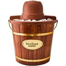 Nostalgia ICMW400 4-Quart Wood Bucket Ice Cream Maker with Easy Carry Handle