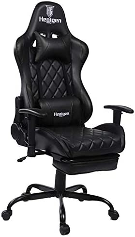 HEALGEN Gaming Chair Racing Style Gamer Chair Ergonomic Leather Video Game Chair High Back and Seat Height Adjustable Swivel Computer Gaming Chair