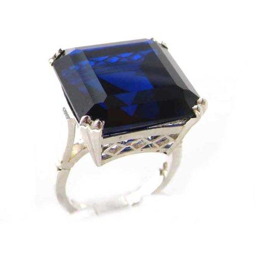 Bague pour Femme en Argent fin 925/1000 sertie de Saphir bleu - Taille - Tailles 50 à 64 disponibles