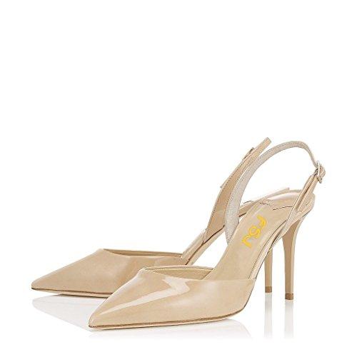FSJ Women Pointed Toe Slingback Pumps Ankle Strap Stiletto Heel Dress Shoes Color Nude Size 8 US