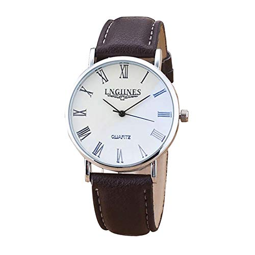 OutTop(TM) LNGJINES 2PCS Couple Quartz Watch Leather Belt High Gloss Glass Analog Wrist Watch with Box (Brown)