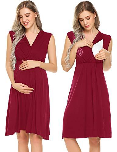 Ekouaer Womens Maternity Nursing Breastfeeding Nightgowns Elastic Waist Pregnancy Dress