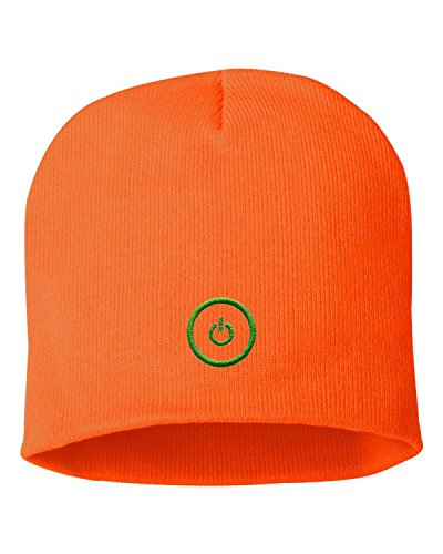 One Size Blaze Orange Adult Gaming Button Embroidered Knit Beanie Cap (Embroidered Orange Creeper)