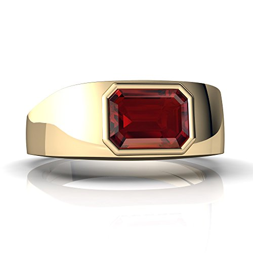 14kt Yellow Gold Garnet 8x6mm Emerald_Cut Men's Ring - Size 9