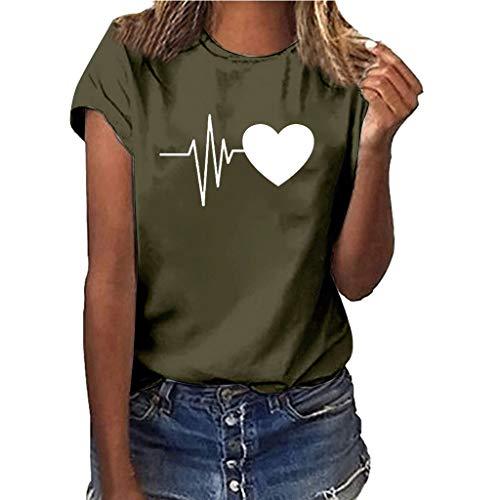 (Women Print Shirt Short Sleeve Girls Plus Size T Shirt Blouse Tops)