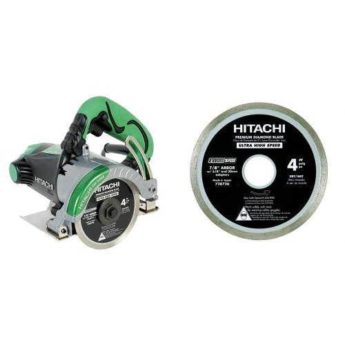 Hitachi 11.6 Amp 4-Inch Dry-Cut Masonry Circular Saw with 728726 4-Inch Wet and Dry Cut Continuous Rim Diamond Saw Blade for Tile and Stone