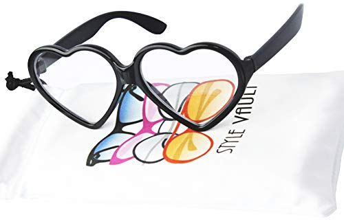 Kd3141 BABY Infant Toddlers Age 0-36 months Heart Sunglasses unisex (Black-clear lens, uv400) -