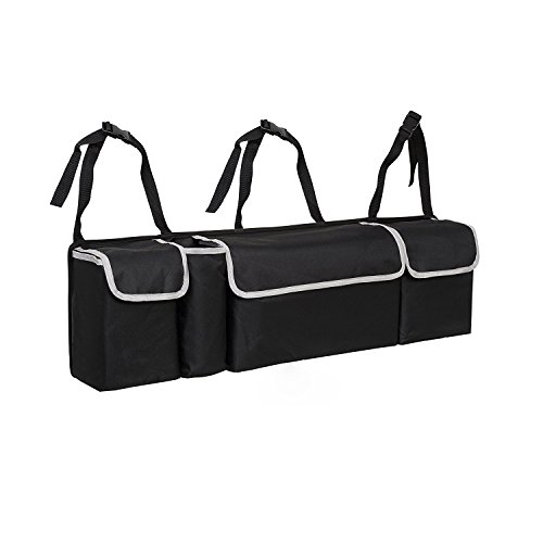Trunk and Backseat Organizer By Space Saving, High Capacity Auto Back Seat and Trunk Storage - Heavy Duty Design, Fits Any Car or SUV Using 3 Fully Adjustable Straps ()