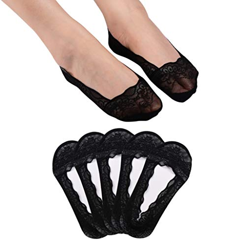Panda Bros 5 Pairs Women's Lace No Show Socks Low Cut Non Slip,Invisible with Flats,Pumps,Boat Liner Socks(Black,8-10)