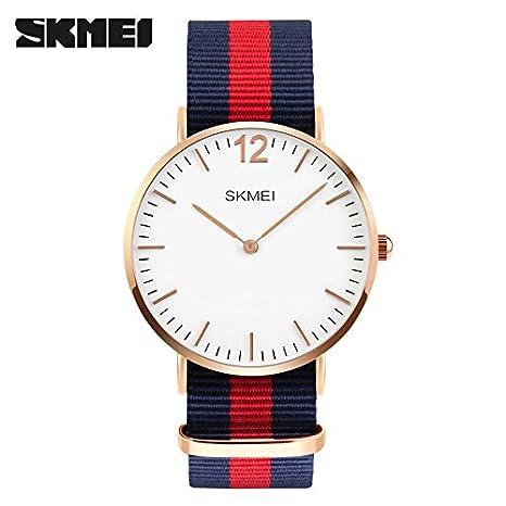 SKMEI Moda Nylon Tejido Pareja Relojes Hombres Ultra Thin Reloj Mujeres Grace Reloj, Rojo: Amazon.es: Relojes