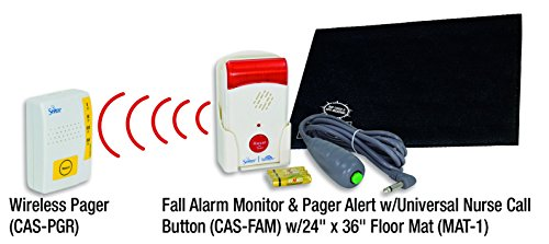 Secure Caregiver Alert System Bedside Floor Mat Sensor with Fall Alarm Monitor, Nurse Call Button & Wireless Pager (24