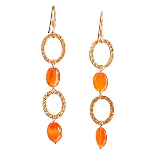 NOVICA Carnelian .925 Yellow Gold Plated Silver Dangle Hook Earrings 'Vibrant'