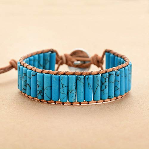 (Fricgore, Handmade Unique Craft Jewelry_New Ethnic Femme Bracelet for Lover Semi Precious Stone Single Leather Wrap Bracelet Beads Couples Bracelet Jewelry - (Metal Color:Woman Size) )