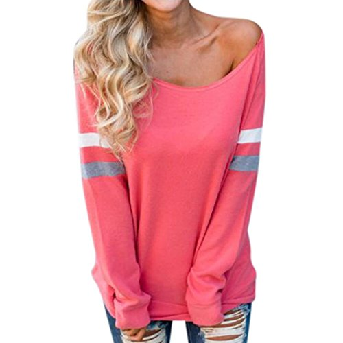 2018 New Women's Casual Long Sleeve Splice Blouse Sexy Tops T-Shirt by E-Scenery (Watermelon Red, (New Embroidered Lace Bra)