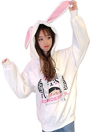 Cosplay Ladies Anime Bunny Emo Rabbit Hoodie Ears Costume Raccoon Teddy Panda Emo Bear T Shirt Top Shirt, White OS -