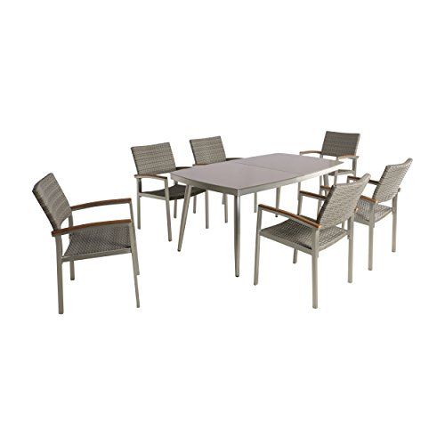 Great Deal Furniture Allen Outdoor Aluminum and Wicker 7 Piece Dining Set with Glass Table Top, Silver and Gray - Wood 7 Piece Glass