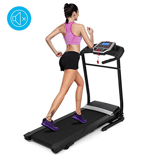 Mewalker Folding Treadmill Electric Motorized Treadmill Fitness Running Machine with LCD Display for Home & Gym (US Stock) (Black)