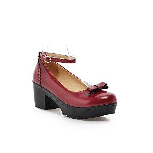 Balamasa Ladies Buckle Chunky Heels Plataforma Urethane Pumps-Zapatos Rojo