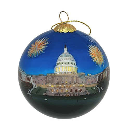 Hand Painted Glass Christmas Ornament - Washington D. C. – U.S. Capitol Fireworks (Fireworks Ornament)