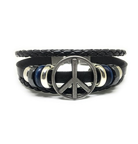 Black Peace Sign Bracelet - JUICY ACCESSORIES BY JUICY SKIN CARE Peace Sign Love Leather Bracelet For Men (Peace Sign - navy rings (Black Leather))