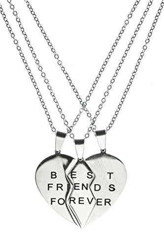 Best Friends Forever 3 Pieces Heart - Handmade Steel Triple Pendant Necklaces by Beautifly with a 16-inch (Costumes For 2 Friends)