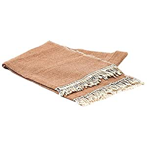 Home Evolution Handloomed Cashmere Pashmina Throw Blanket - 60 X 90 Inch - Taupe Brown