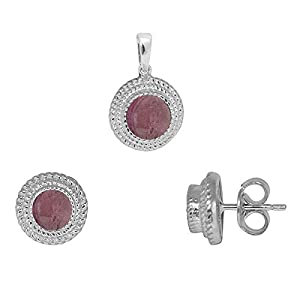Shine Jewel 925 Sterling Silver Pink Tourmaline Pendant set Jewelry