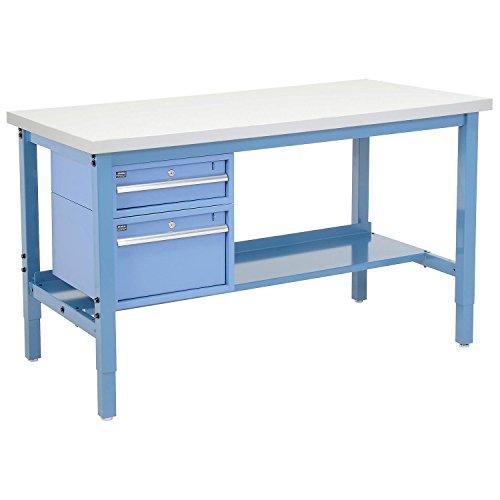 (Workbench - Plastic Laminate Square Edge with Drawers & Shelf, 60