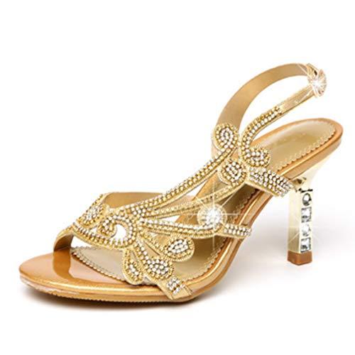 Selling Sandalo Diamanti A Diamanti Gold Estivi Lampeggianti Tacco Sandali 38 Alto Con purple Spillo xrzngxwRF