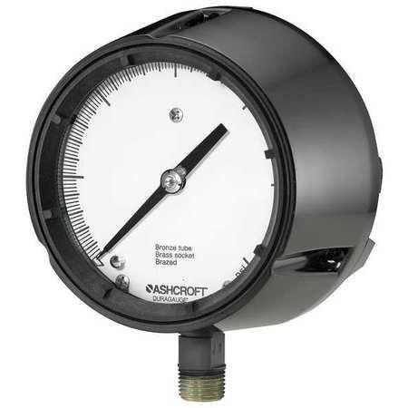 Ashcroft Duragauge Type 1279 Black Phenolic Case Pressure Gauge, C510 Grade A Phosphor Bronze Tube, Brass Tip, Silver Brazed, Brass Socket, Solid Front Case, 4.5' Dial Size, 1/2' NPT Lower Connection, 0/200 psi Pressure Range
