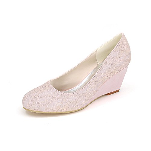 L@YC Zapatos De Boda De La Mujer Confortable Slope Heels OtoñO E Invierno 9140-01a & Vestido De Noche De Raso Pink