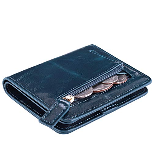 - Itslife Women's Rfid Blocking Small Compact Bifold Leather Pocket Wallet Ladies Mini Purse with id Window (Waxed Dark Blue)