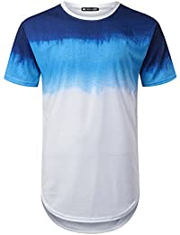 Mens Hipster Hip Hop Graphic Dyed Longline T-Shirt (Various Styles)