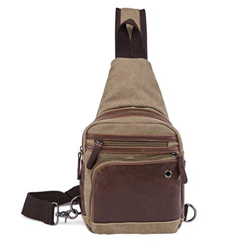 Wewod pecho Paquete/paquetes/Mujer bolso de la lona de la moda retro de la estilo europeo y americano 16 x 30 x 5 cm (L*H*W) Caqui