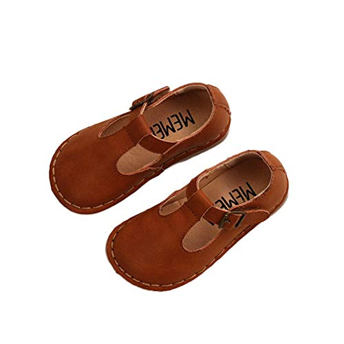 F-OXMY Toddler Girls Retro Oxfords T-Strap Dress Shoes Comfort Soft Non-Slip Mary Jane Ballet Flat Shoes Brown]()