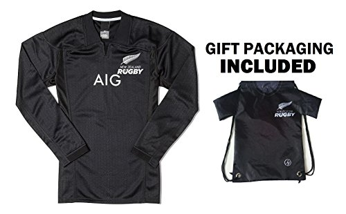 New Zealand All Black Rugby Jersey Home ✮ Short Sleeve or Long Sleeve ✮ BONUS All Black Jersey Drawstring Backpack by Fan Kitbag (Large, Home Long Sleeve)