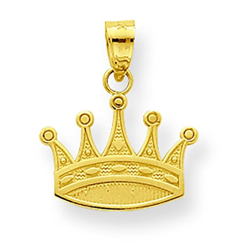 10K Gold Crown Charm Pendant Jewelry 20 x 18mm