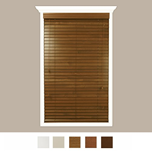 Luxr Blinds Custom-Made Real Wood Horizontal Window Blinds with Easy Inside Mount - 49