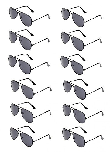 WODISON Classic Kids Aviator Sunglasses Bulk Metal Frame Children Party Eyeglasses 12 Packs -